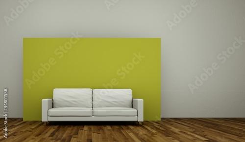 Wohndesign - weisses Sofa vor grüner Dekowand