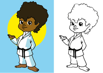 sport, child and martial art, clipart for kids