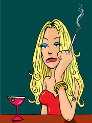Cartoon woman smoking at the bar