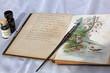 Altes Poesiealbum mit Federhalter und Tintenfass