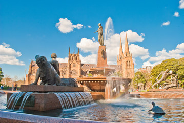 Sydneys Hyde park Fountain and church