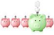concept for energy saving. piggy banks and light bulbs.