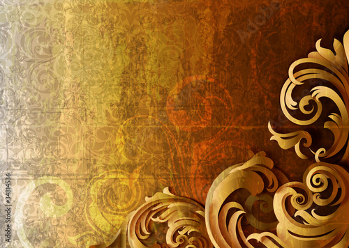 3d Grungy Floral Background - Vector Illustration