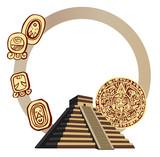 Mayan Pyramid and Glyphs poster