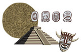 Antique Mayan Pyramid and Glyphs poster