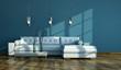 Wohndesign - weißes Sofa vor blauer Wand