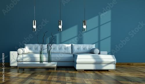 wohndesign wei es sofa vor blauer wand stockfotos und lizenzfreie bilder auf. Black Bedroom Furniture Sets. Home Design Ideas