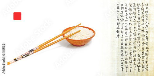 Chinese chopsticks and rice - asian food culture