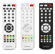 set of white and black remote control isolated on white
