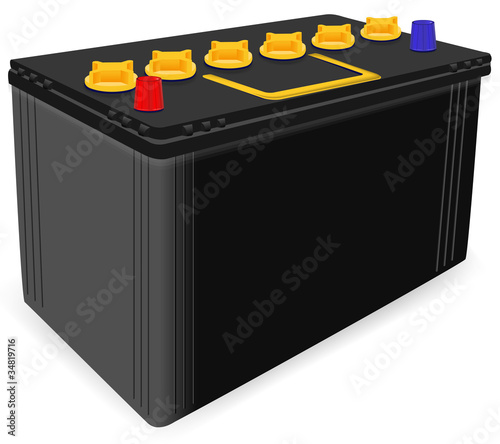 black car battery isolated on white background