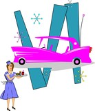 pink caddy with carhop from 50;s