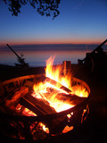 Lake Superior Beach Campfire poster