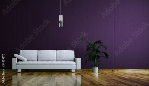 Wohndesign - weißes Sofa vor lila Wand