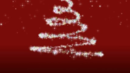 Animazione albero di natale su sfondo rosso