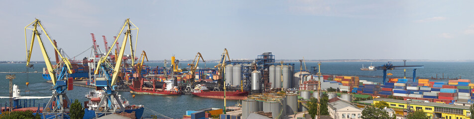 Panorama view on the port