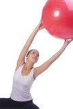 young caucasian girl making regular sport exercise,isolated poster