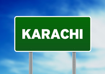 Green Road Sign - Karachi, Pakistan