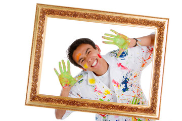 Happy male painter