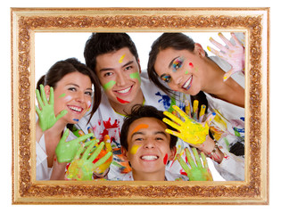 Happy group of painters