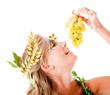 Greek goddess eating grapes