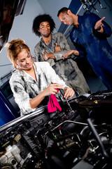 Female mechanic working