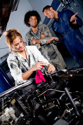 Female mechanic working