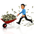3D business man carrying money