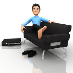 3D business man relaxing