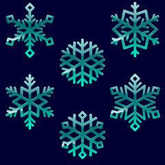 Set of glossy christmas snowflakes