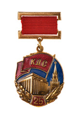 russian medal on white background