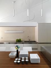 dettaglio di cucina moderna in mansarda