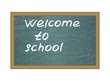 "Text ""Welcome to school"" on a blackboard. detailed vector"
