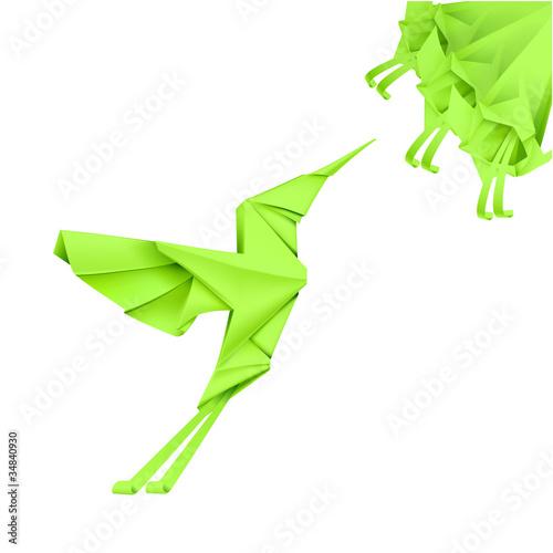 Staande foto Geometrische dieren Paper Colibri
