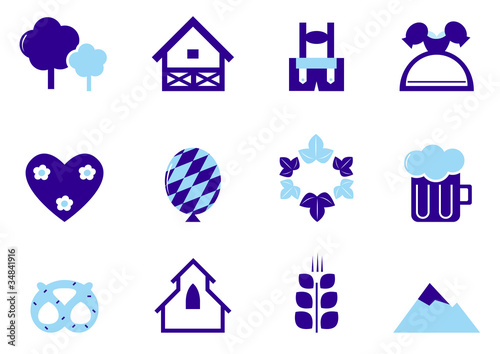 Octoberfest, Munich and Germany icon set isolated on white ( blu