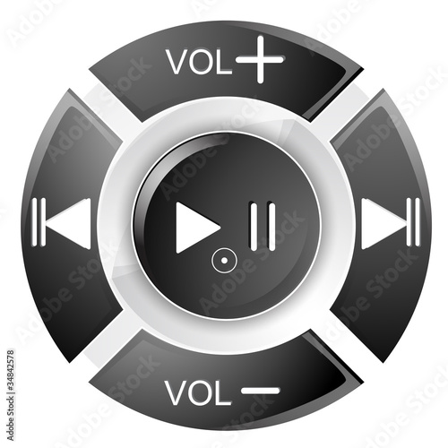 vector illustration of black remote control buttons on white