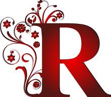 Lettre majuscule R rouge
