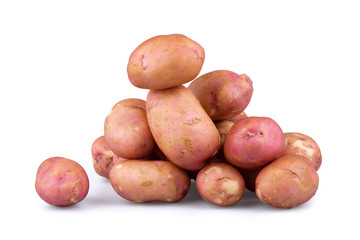 Fresh potatoes on isolated white background.