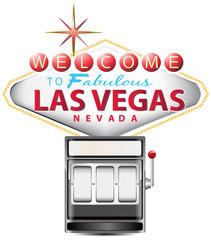 black slot machine with las vegas sign