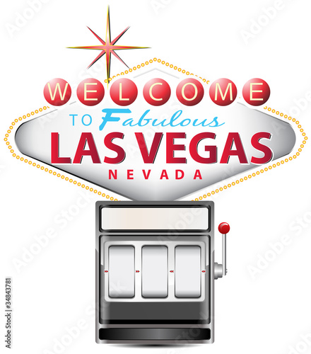 black slot machine with las vegas sign