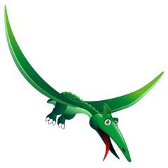 Dinosauro Pterodattilo Cartoon-Pterodactyl Dinosaur-Vector