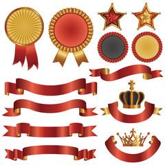 set of ribbon and emblem