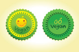 go vegan badge - vector illustration