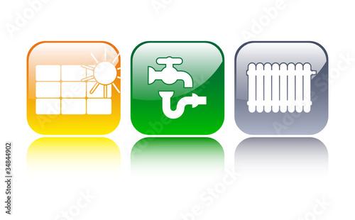 Sanitär-Solar-Heizung Icons
