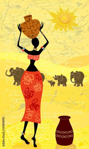 landschaft-mit-einer-afrikanischen-frau-dekorativ
