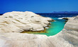 Sarakiniko beach in beautiful island of Milos, Greece