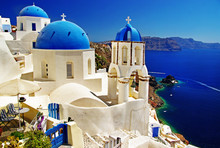 schönen Santorini Ansicht der Caldera mit Kirchen
