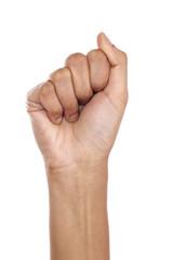Fist on white