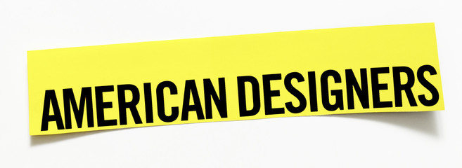 "Clipping ""American Designers""  word on white background"