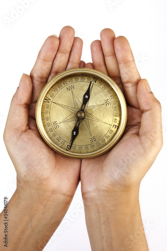 Directional compass in the hands