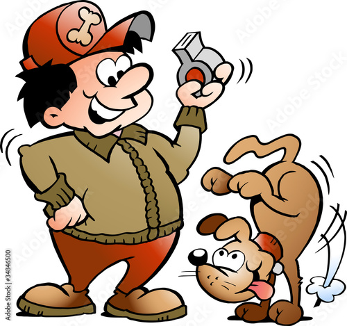 Hand-drawn Vector illustration of an Dog Trainer